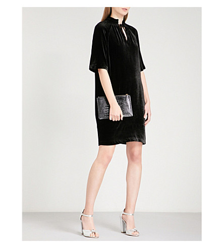 WHISTLES Tie-neck velvet dress (Black