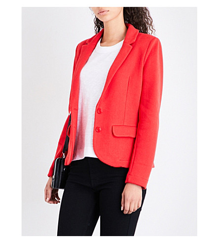 WHISTLES Slim-fit cotton blazer (Red