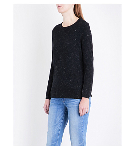 WHISTLES Annie Stepped-hem metallic knitted jumper (Black