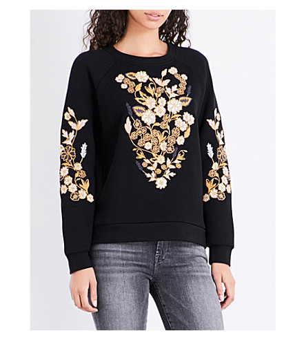 WHISTLES Belize embroidered cotton sweatshirt (Black