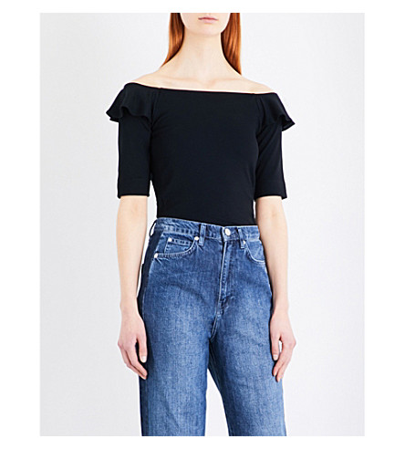 WHISTLES Frill off-the-shoulder jersey top (Black
