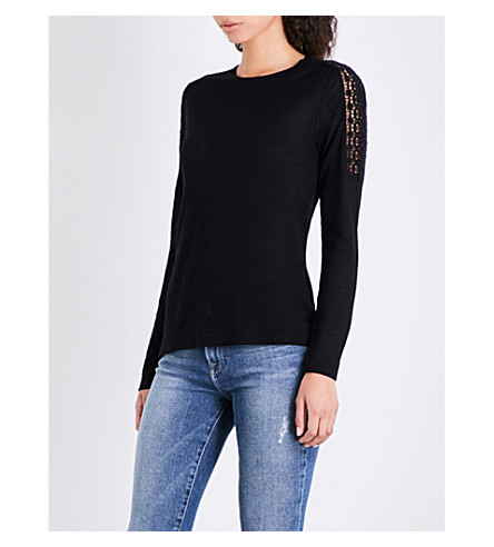 WHISTLES Wool Mix Lace Shoulder jersey top (Black