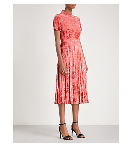 WHISTLES Harlow pleated devoré midi dress (Bright+orange