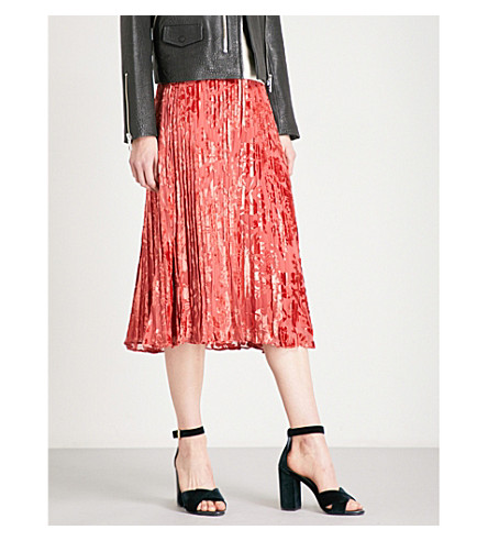 WHISTLES Harlow pleated devoré skirt (Bright+orange