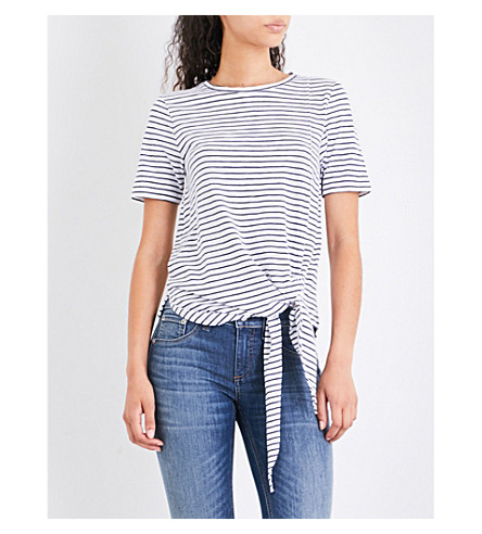 WHISTLES Stripe-print cotton-jersey T-shirt (Multi-coloured
