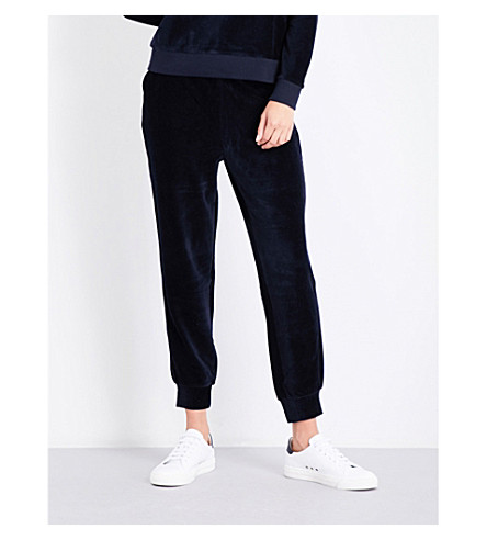WHISTLES Tapered velour jogging bottoms (Navy