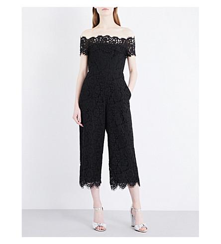 WHISTLES Off-the-shoulder lace jumpsuit (Black