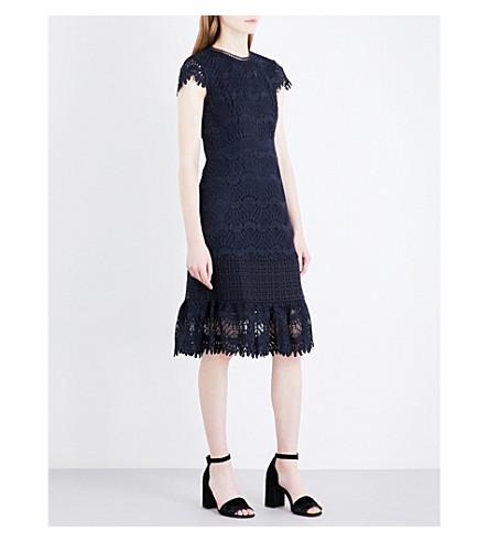 WHISTLES Niki scalloped-hem embroidered dress (Navy