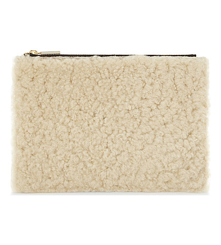 WHISTLES Rivington leather and shearling clutch (Plum/claret