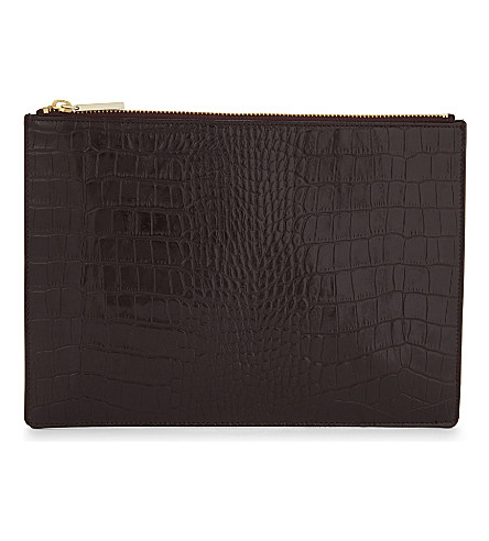WHISTLES Croc-embossed leather pouch (Plum/claret