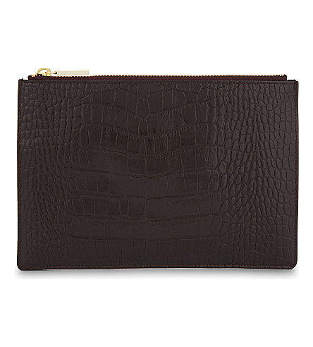 WHISTLES Croc-embossed small leather pouch (Plum/claret