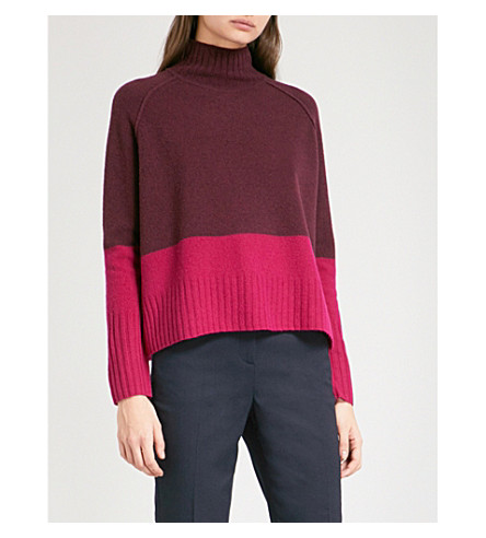 WHISTLES Colour-block wool turtleneck jumper