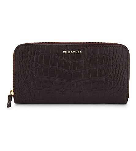 WHISTLES Croc-embossed leather zip-around purse (Plum/claret