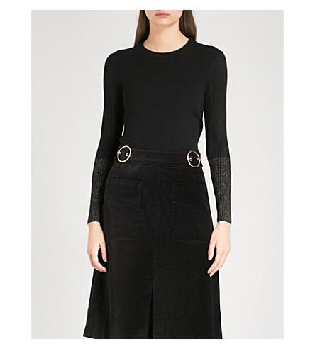 WHISTLES Sparkle metallic-cuff wool-blend jumper (Black