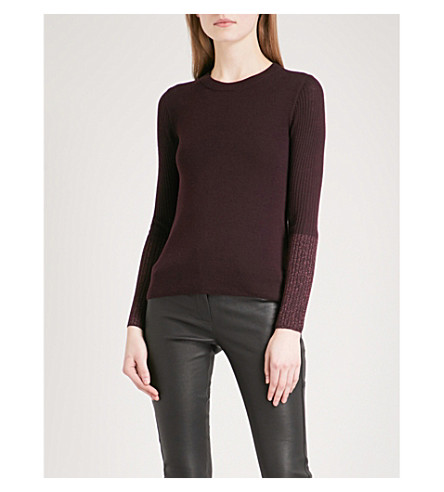 WHISTLES Sparkle metallic-cuff wool-blend jumper