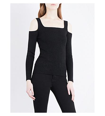 WHISTLES Sparkle cold-shoulder knitted top (Black