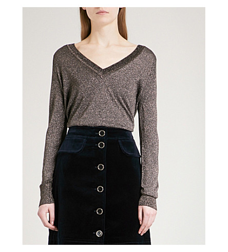 WHISTLES V-neck metallic knitted jumper (Silver