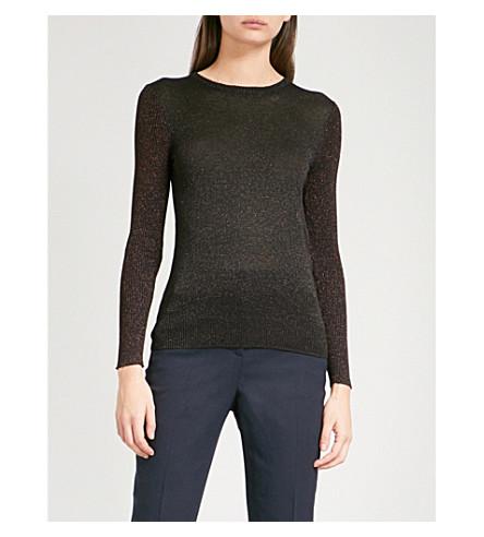 WHISTLES Panelled metallic knitted jumper (Multi-coloured