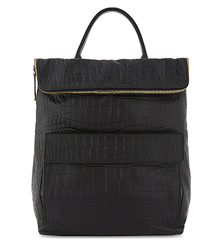 WHISTLES Verity crocodile-embossed leather backpack (Black