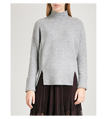 WHISTLES Funnel-neck knitted jumper (Grey