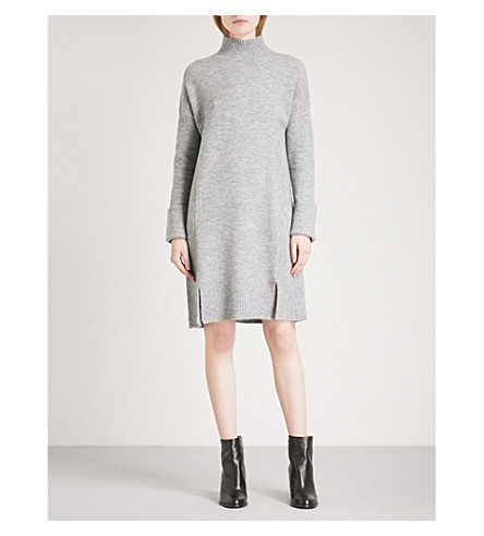 WHISTLES Funnel-neck knitted dress (Grey