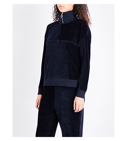 WHISTLES Zip Neck velour sweatshirt (Navy