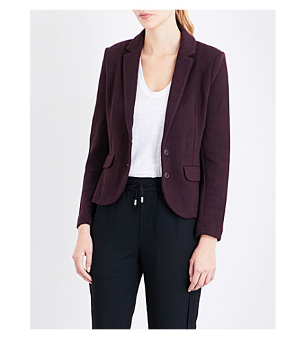 WHISTLES Slim cotton jacket (Plum/claret