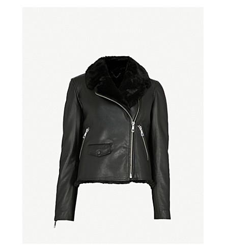 WHISTLES Agnes faux-fur leather jacket (Black
