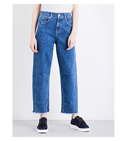 WHISTLES High-rise barrel-leg stretch-denim jeans (Navy