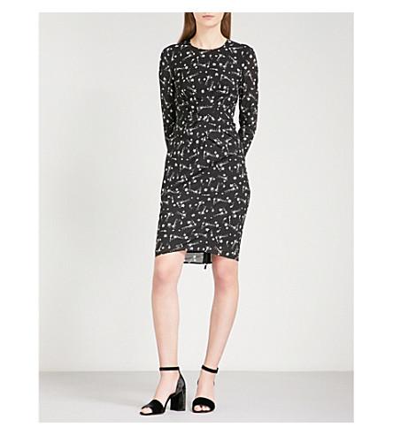 WHISTLES Phoebe constellation-print stretch-silk dress (Monochrome
