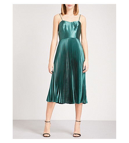 WHISTLES Pleated satin dress