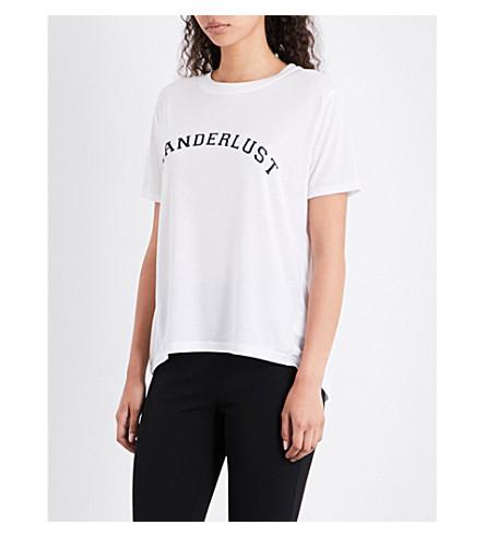 WHISTLES Wanderlust crepe T-shirt (White