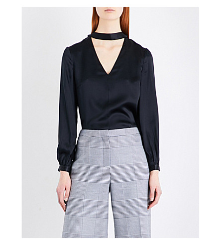 WHISTLES Carolina silk-satin blouse (Black