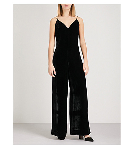 WHISTLES Gabrielle velvet V-neck jumpsuit (Black