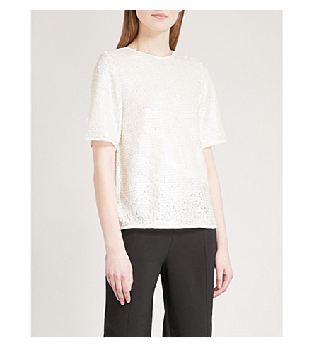 WHISTLES Cassidy sequinned top (Cream