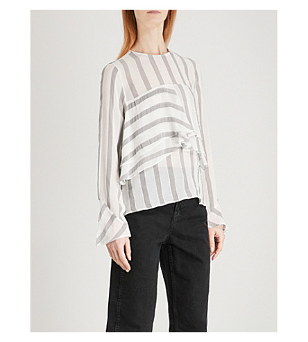 WHISTLES Sophiana striped woven blouse (Cream