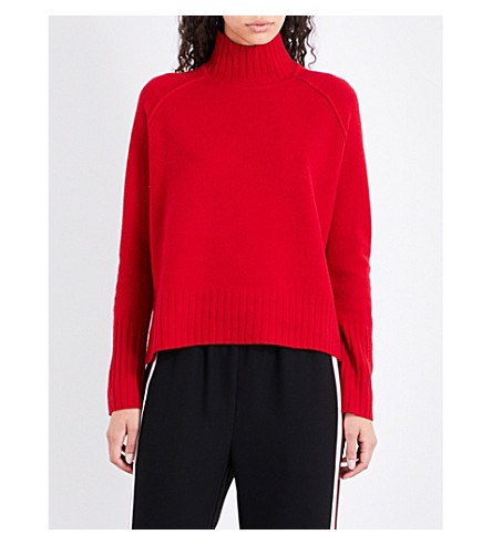 WHISTLES Funnel-neck knitted wool jumper (Red