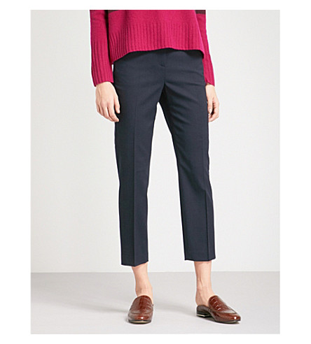 WHISTLES Cropped stretch-wool slim-leg trousers (Navy