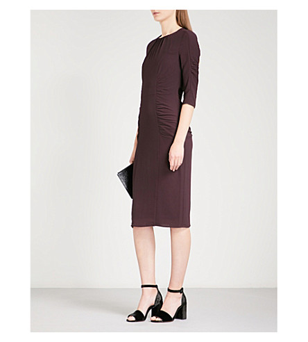 WHISTLES Izzey ruched crepe dress