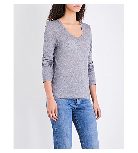 WHISTLES Scoop neck Wool Mix jersey top (Grey