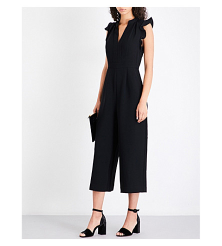 WHISTLES Lavene ruffled crepe jumpsuit (Black