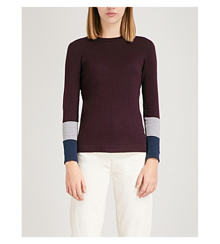 WHISTLES Striped-cuff cotton jumper