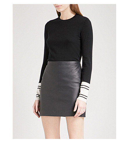WHISTLES Striped-cuff wool and cotton-blend jumper (Monochrome