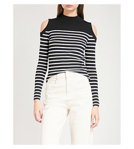 WHISTLES Cold-shoulder striped cotton-blend jumper (Multi-coloured