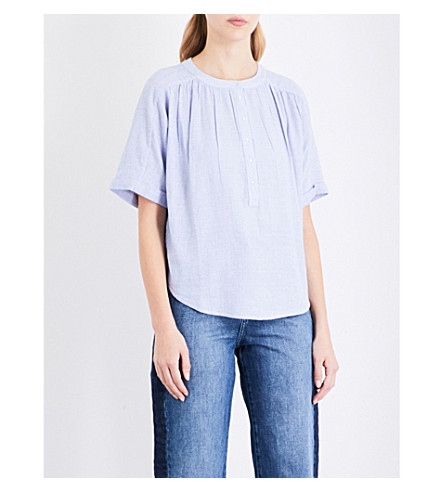 WHISTLES Paula stripe placket blouse (Blue
