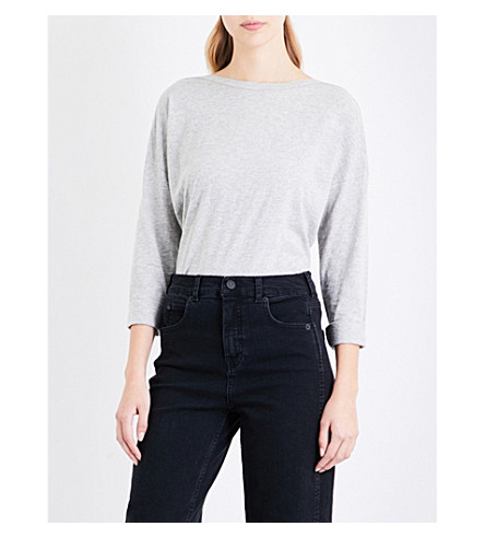 WHISTLES Boat neck cotton-jersey top (Grey