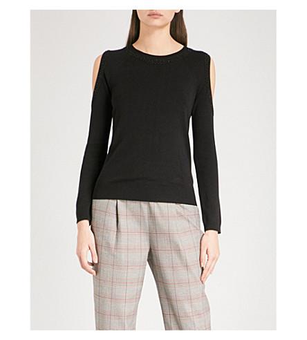 WHISTLES Embellished cold-shoulder knitted jumper (Black