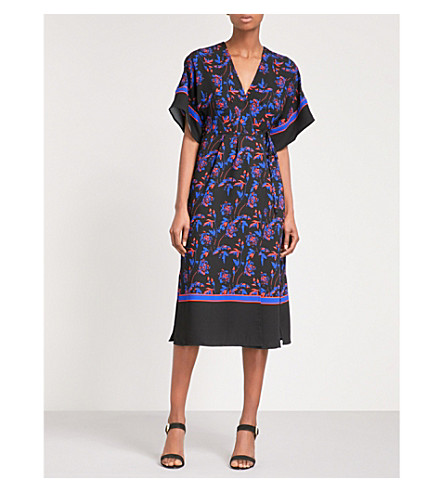 WHISTLES Floral-print crepe midi wrap dress (Multi-coloured
