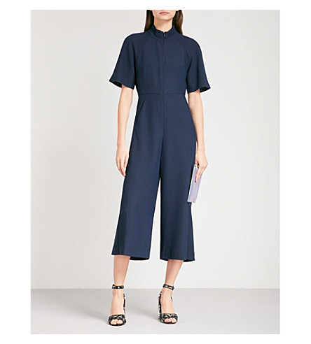 WHISTLES Amber cropped crepe jumpsuit (Navy