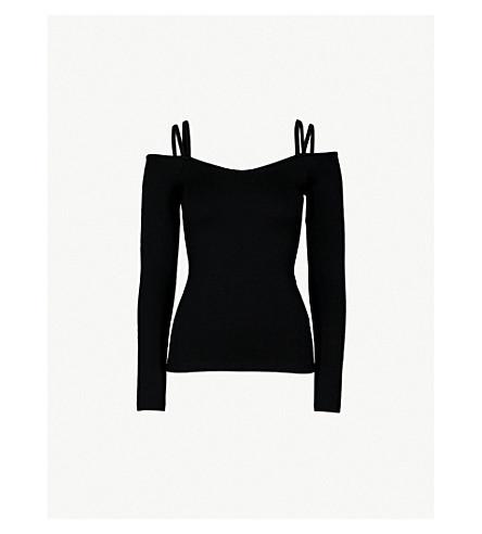 WHISTLES Cold-shoulder stretch-jersey top (Black